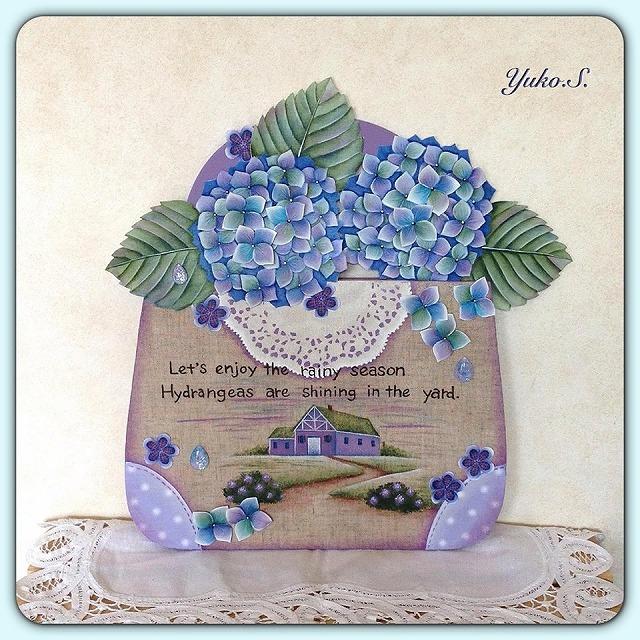 紫陽花のバック型プレート