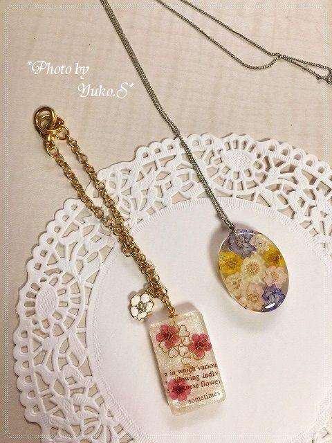 UVレジンの お花の ネックレスと バックチャーム