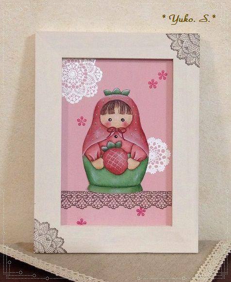イチゴのマトリョーシカ・フレーム飾り