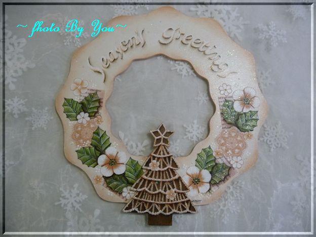 ペールピンク の クリスマスリース