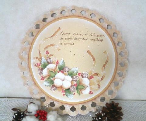 *冬*コットンフラワーの 飾り皿